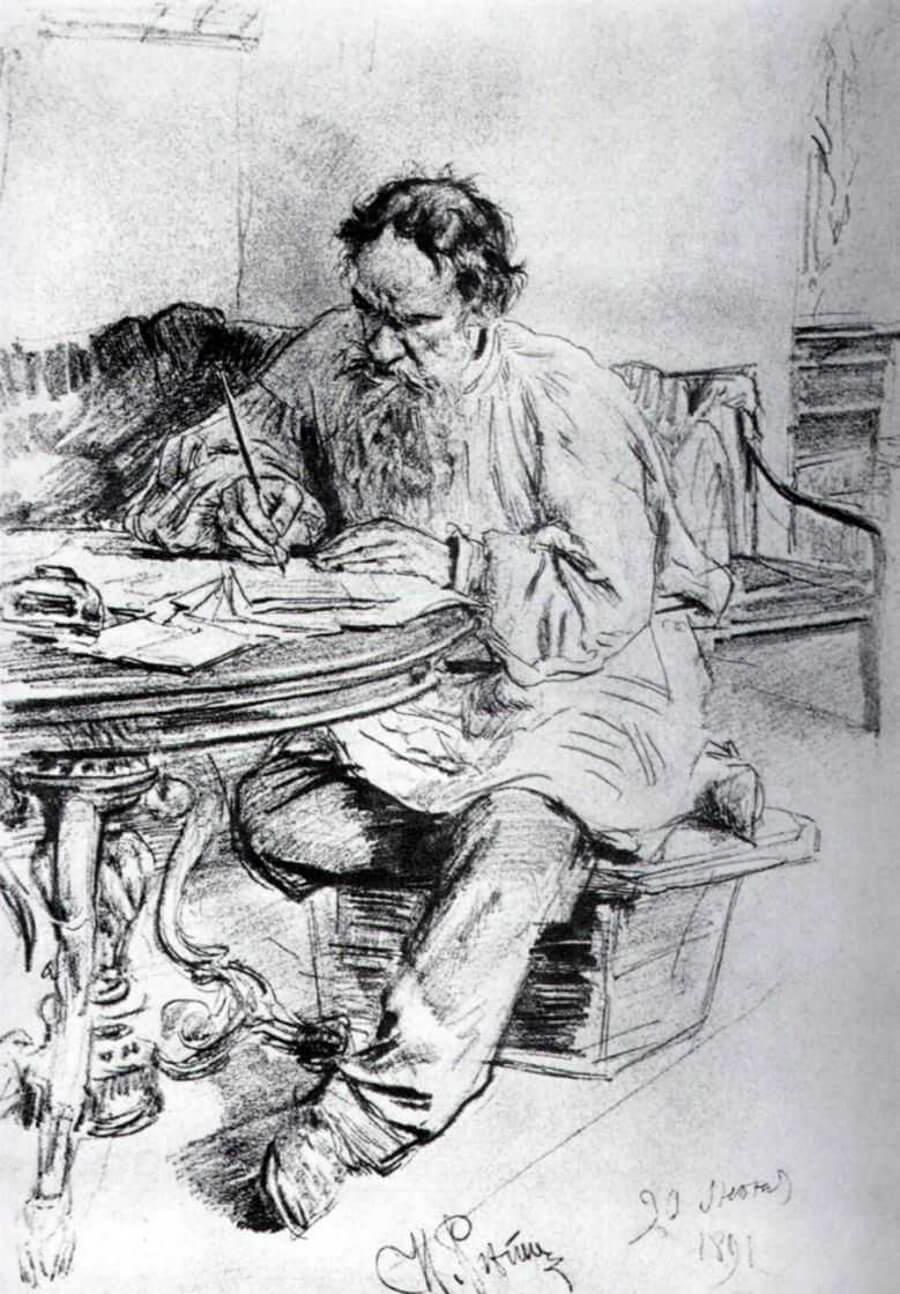 Картинка: Илья Репин. Лев Толстой, пишущий за круглым столом в Ясной Поляне