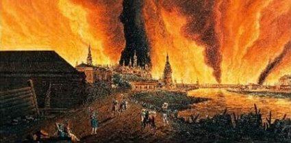 Картинка: Кристиан Иоганн Ольдендорп. Вид на Кремль во время Московского пожара. 1812